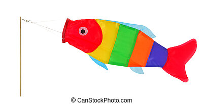 Funny windsock in fish shape, isolated on background