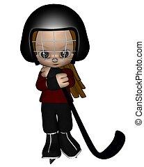 Toon Kid Ice Hockey Player - 1 - Cute toon kid dressed in a...