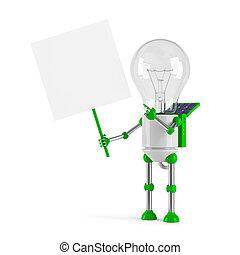 solar powered light bulb robot - blank placard