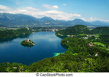 Lake Bled in Slovenia - Panoramic view of St Mary´s Church...