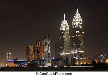 Dubai Media City at night, United Arab Emirates