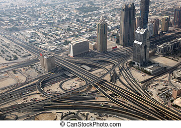 Aerial view of a highway junction in Dubai, United Arab...