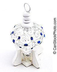 White Tunisian Bird Cage - Tiny white and blue birdcage...