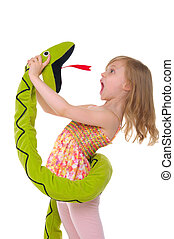 girl fights with toy snake isolated on white