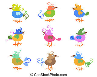 colorful cartoon birds