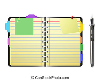 open personal organizer and pen