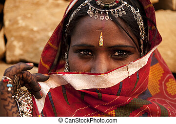 Indian woman - Traditional Indian woman covered her face