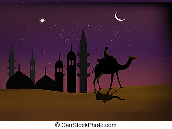 Islamic wallpaper - Man riding on camel on the background of...
