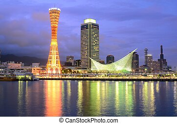Kobe, Japan Skyline - The dusk cityscape of Kobe, Japan at...
