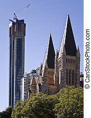 Tall Building and the Cathedral - The tallest building in...
