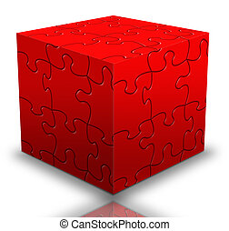 cube puzzle box in red