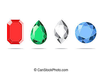 jewels - beautifull jewels on white backgorund vector...