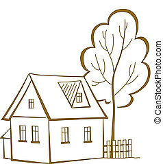 House with a tree, pictogram - Vector cartoon, landscape:...