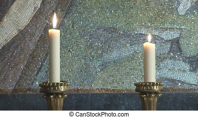 cross pan - candles with cross in chapel of holy sepulcher