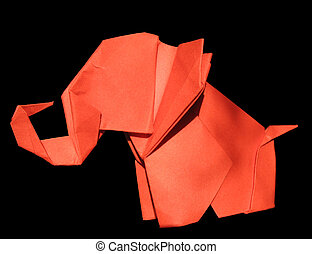 Origami red elephant isolated on black - Origami traditional...