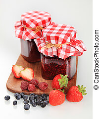 Fruit preserves - Two jars of homemade fruit preserve -...