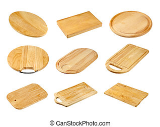 Various wooden cutting boards isolated on white