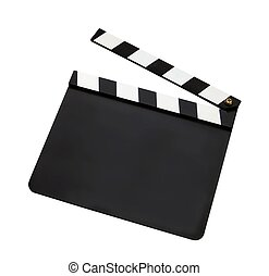 Film clap board isolated on white background