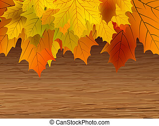 Fall leaves making border on wooden. EPS 8