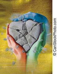 heart - A broken stone heart is held by three painted hands
