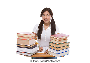Friendly Hispanic College student with books