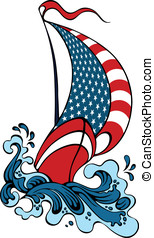 Boat Sailing In Strong Waves - Symbol of the united states...