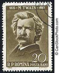 Mark Twain - ROMANIA - CIRCA 1960: stamp printed by Romania,...
