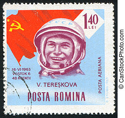 astronaut - ROMANIA - CIRCA 1963: stamp printed by Romania,...