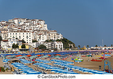 Rodi Garganico (Gargano, Puglia, Italy) and the beach at...