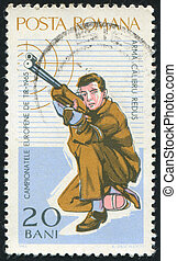 poststamp hunting - ROMANIA - CIRCA 1965: stamp printed by...