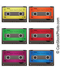 cassette - audio cassette on white background
