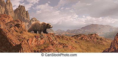 Grizzly Bear Landscape - Landscape scene with grizzly bear...