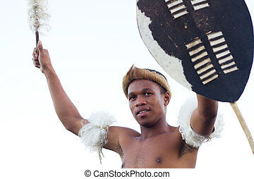 african zulu man holding shield - african zulu man holding...