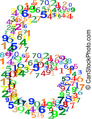 Number Six 6 made from colorful numbers