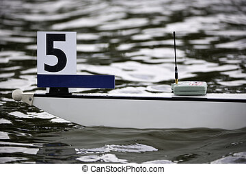 Rowing boat bow - Bow of a rowing boat in lane 5 tag and a...