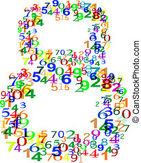 Number Eight 8 made from many colorful numbers