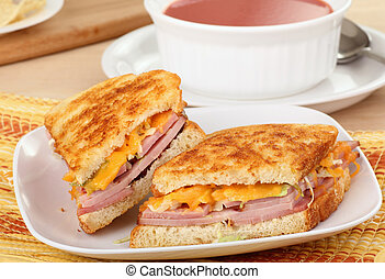 Grilled Ham and Cheese - Grilled ham and cheese sandwich...