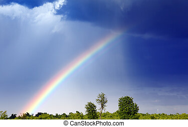 Rainbow - A rainbow forms as a storm passes through