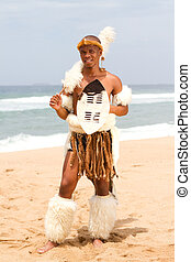 native african man on beach