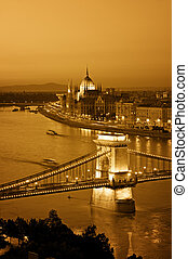 Budapest skyline at night. - Color toned image of Budapest...