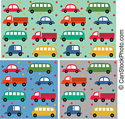 seamless car pattern on three different background colours
