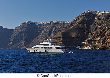 santorini island coast with luxury yacht - greece santorini...