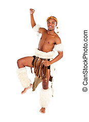 native african man dancing in studio