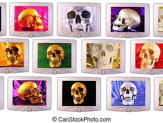 Monitors with silvery or golden skulls