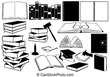 Study Books - Illustration of different kinds of books and...