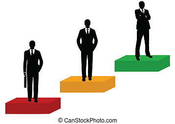 Businessmen silhouette isolated on white