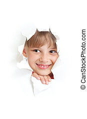 happy kid or child smiling face in torn paper hole isolated