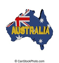 Australia map flag with text