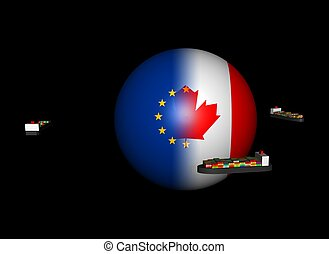 ships and EU Canada flag sphere illustration - Container...