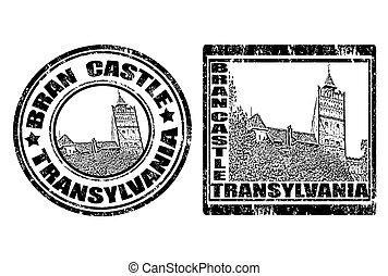 BRAN CASTLE - Set of grunge rubber stamp with Bran Castle...